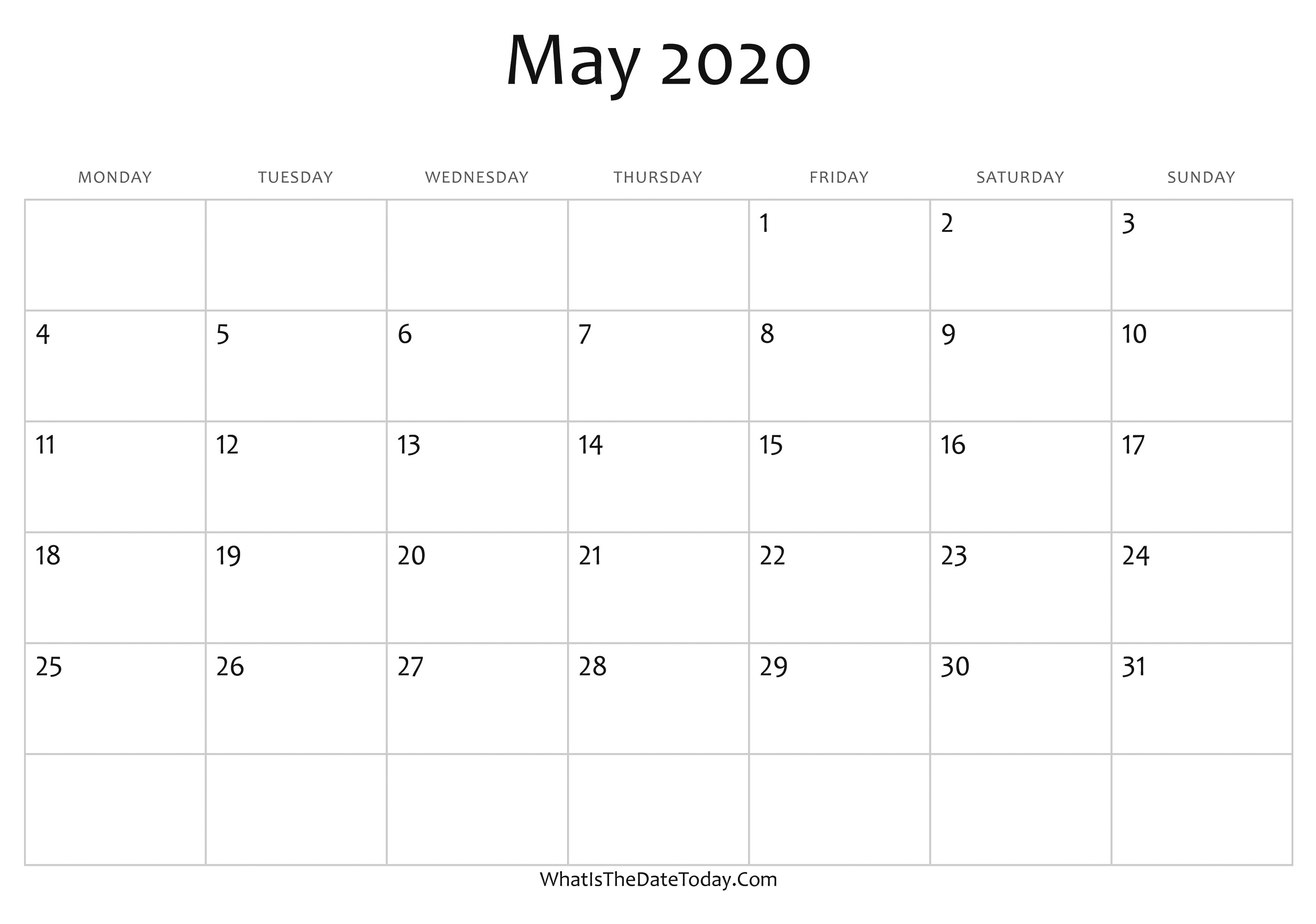 May 2020 Calendar Blank Landscape In   Otohondalongan with Mayan Calendar 2020
