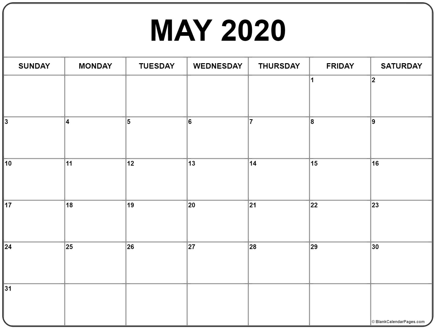May 2020 Calendar | Free Printable Monthly Calendars regarding Free Printable 2020 Calendar With Space To Write