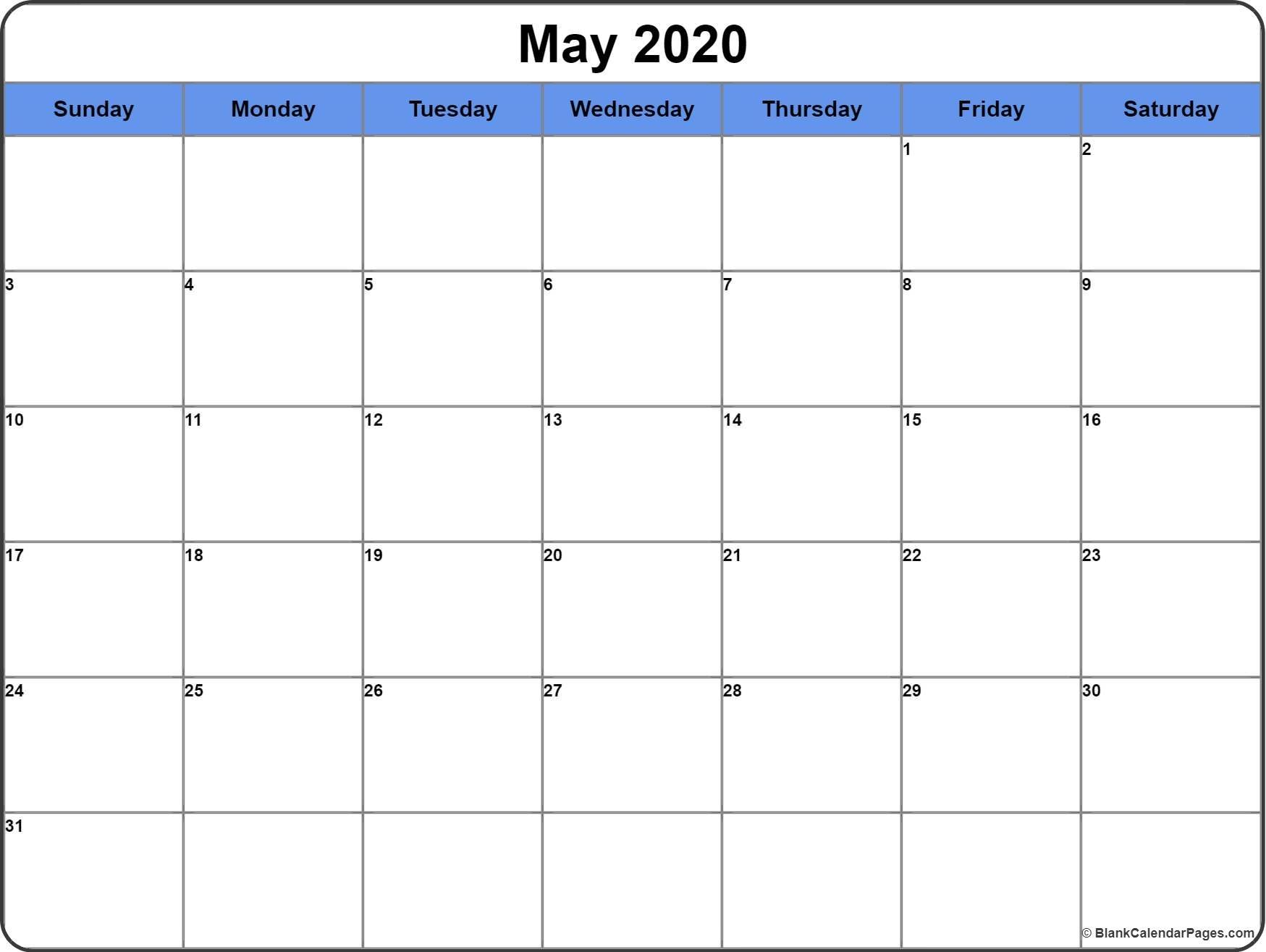 May 2020 Calendar | Free Printable Monthly Calendars with Free Printable 2020 Calendar With Space To Write