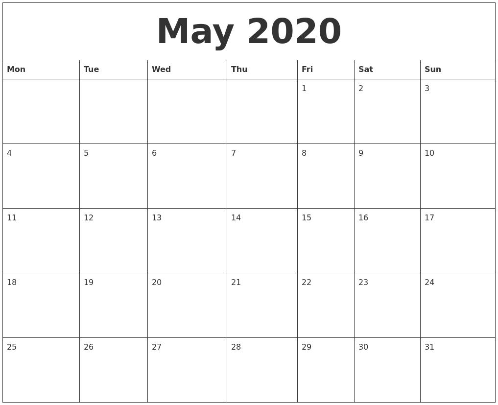 May 2020 Printable Calander for 2020 Printable Calendar Starting With Monday