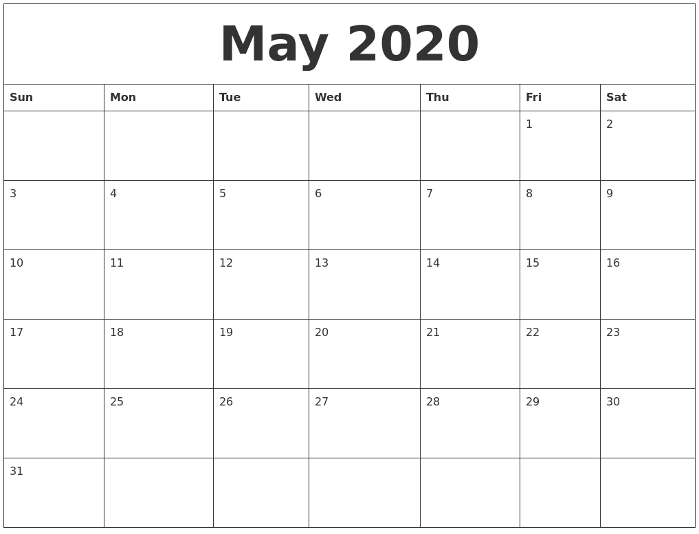May 2020 Printable Calendar Free with regard to 2020 Printable Calendar Free That Start With Monday