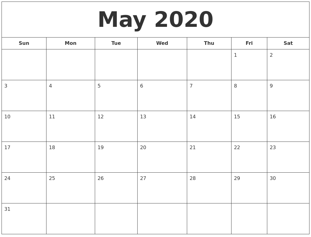 May 2020 Printable Calendar with regard to June 2019 To May 2020 Calendar