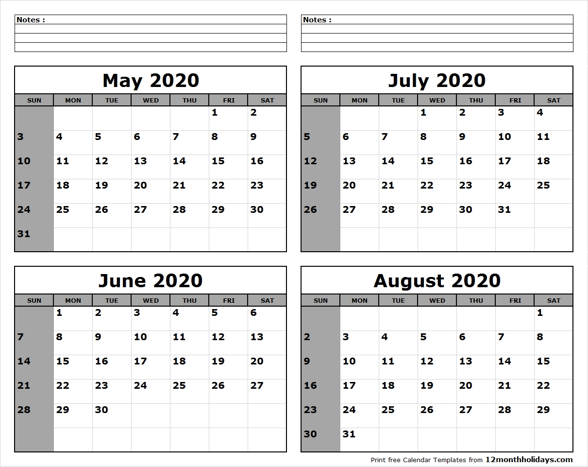 May-June-July-August-2020-Calendar-To-Print - All 12 Month Calendar pertaining to June July August 2020 Calendar