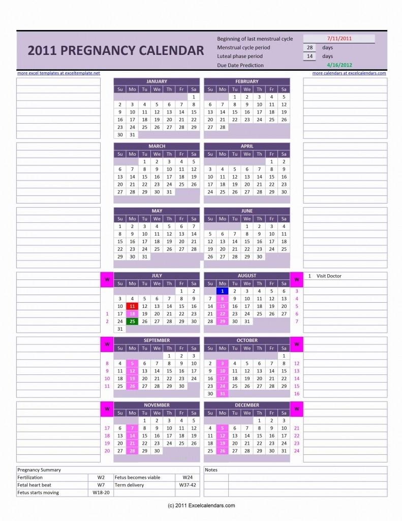 Menstruation Calculator Pregnancy » Exceltemplate for Weekly Pregnancy Calendar Week By Week Pregnancy Calendar