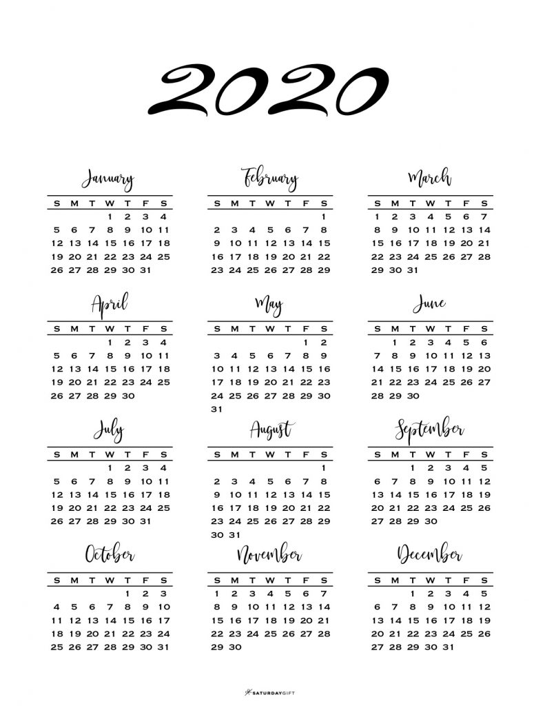 Minimal One Page Calendar For 2019 & 2020 {Free Printables} for 2020 Calendar Printable One Page