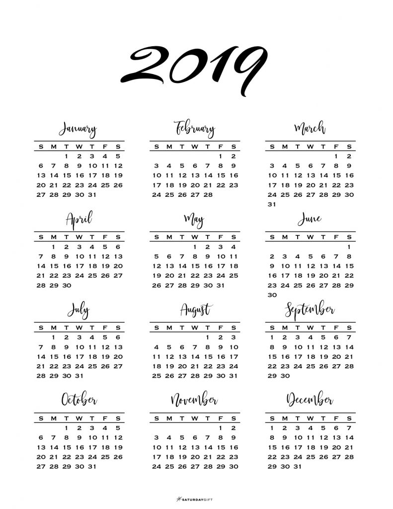 Minimal One Page Calendar For 2019 & 2020 {Free Printables} intended for 2019 And 2020 Calendar One Page