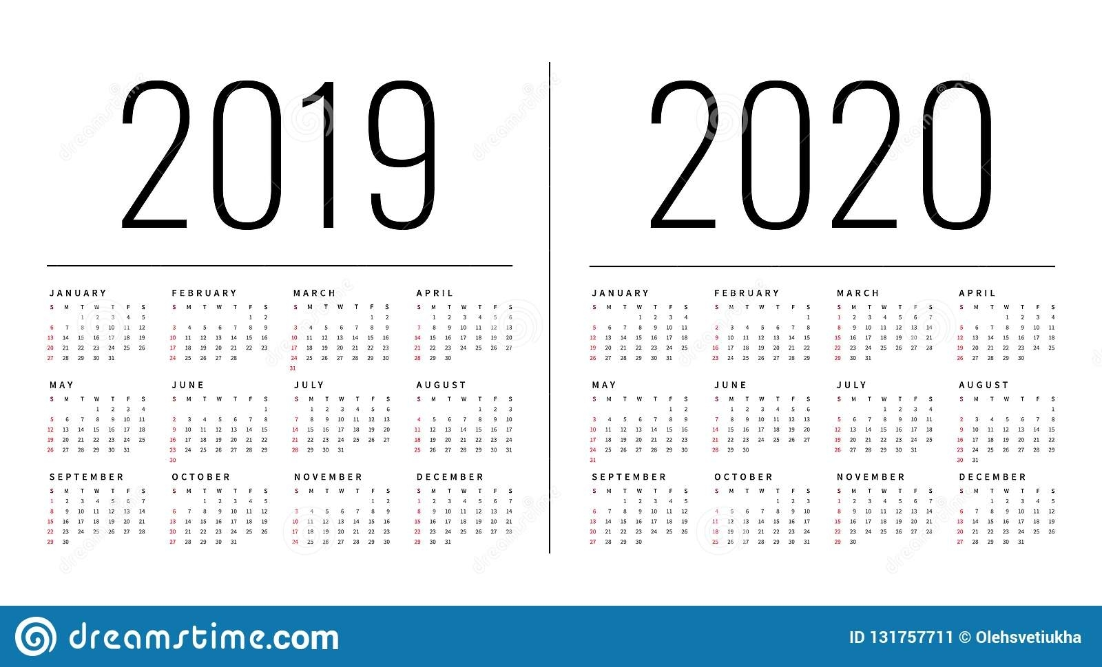 Mockup Simple Calendar Layout For 2019 And 2020 Years. Week Starts inside 2019/2020 Calendars Starting On Monday