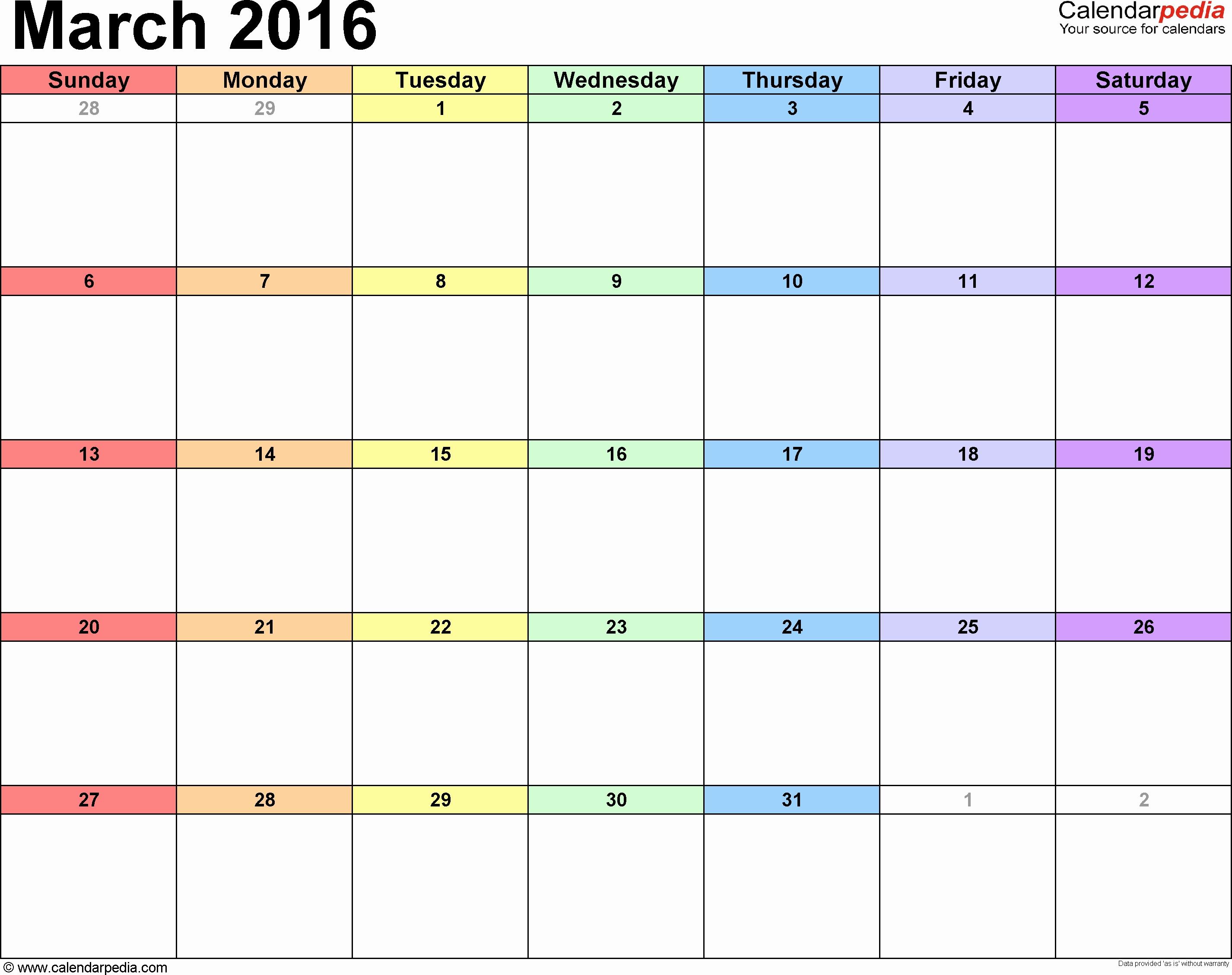 Monday To Sunday Calendar Template Luxury Printable Calendar 2016 with Calendar Template Monday To Sunday