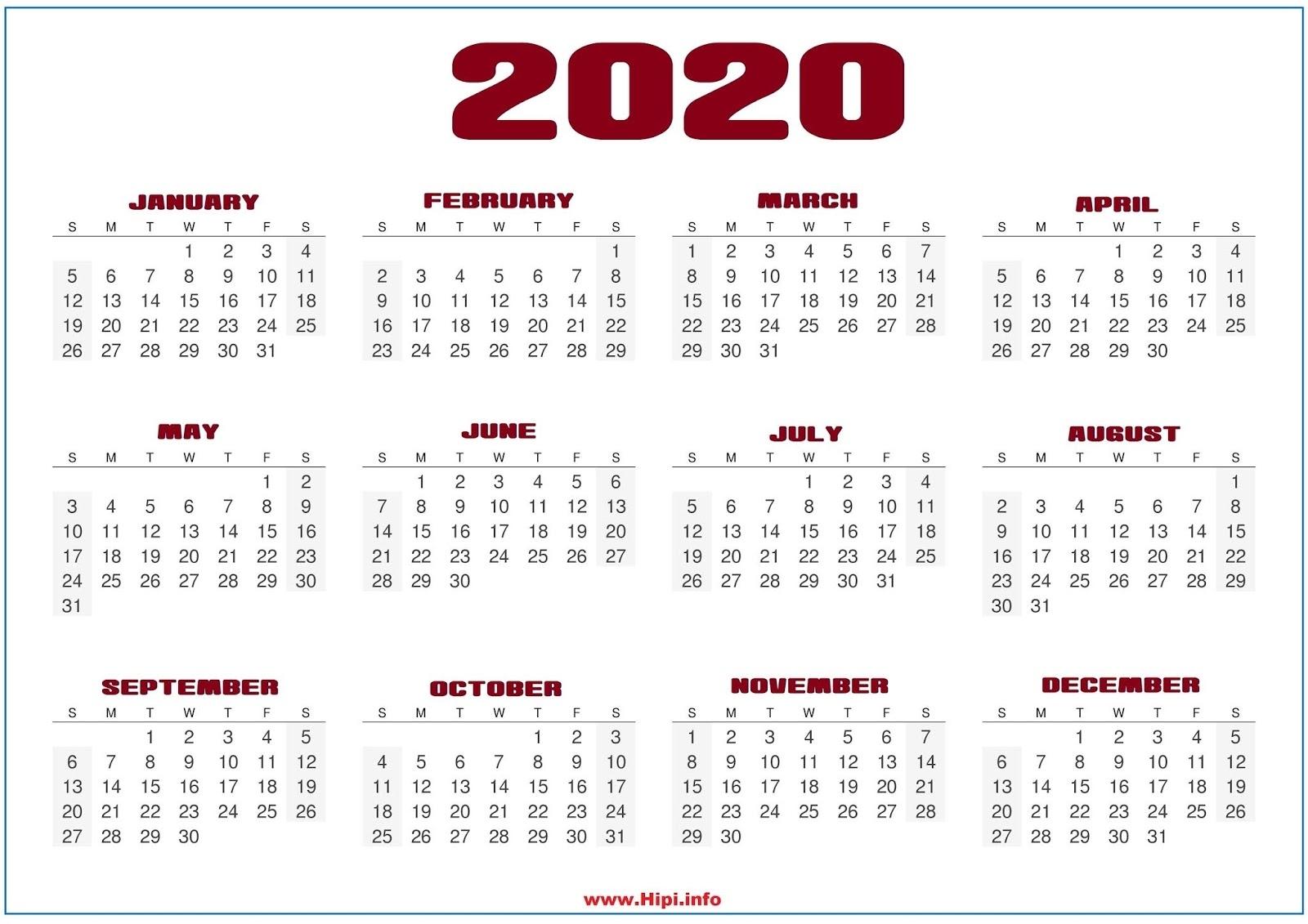 Monthly 2020 Desktop Calendar Wallpapers in 2020 8 X 10 Calendars