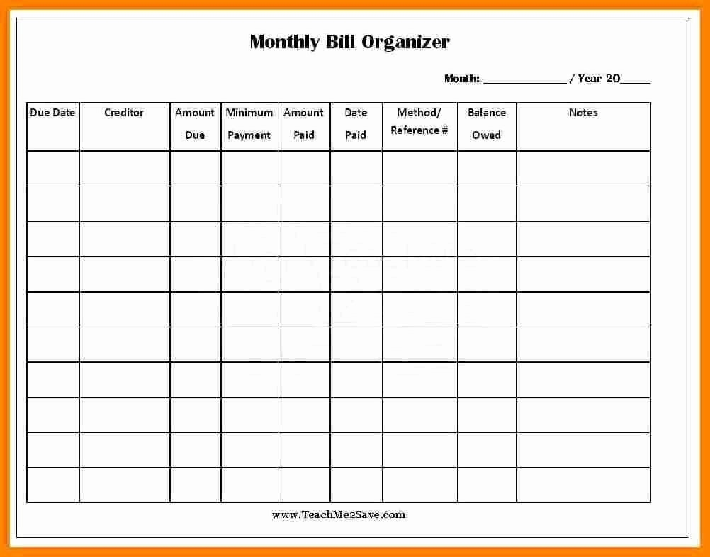 Monthly Bill Organizer Template Excel Luxury Excel Monthly Bill Pay in Printable Bill Payment Month Year