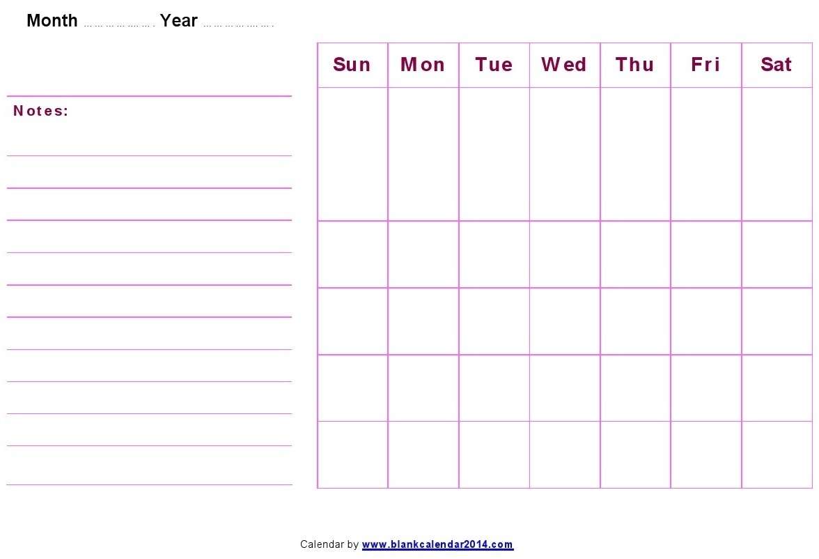 Monthly-Blank-Calendar-Notes pertaining to Blank Printable Calendar By Month With Notes