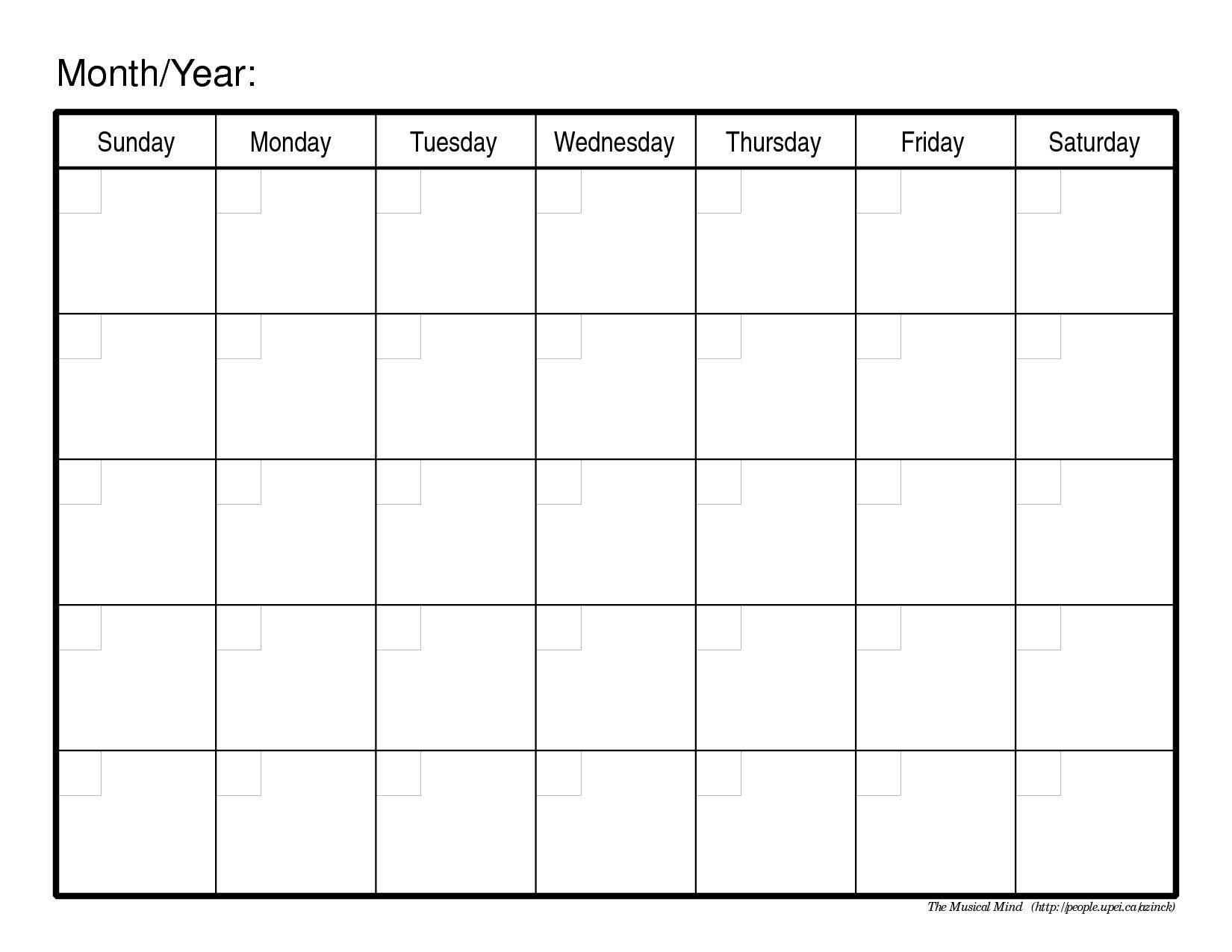 Monthly-Calendar-Template-Image pertaining to Free Printable Blank Calendar Month 1