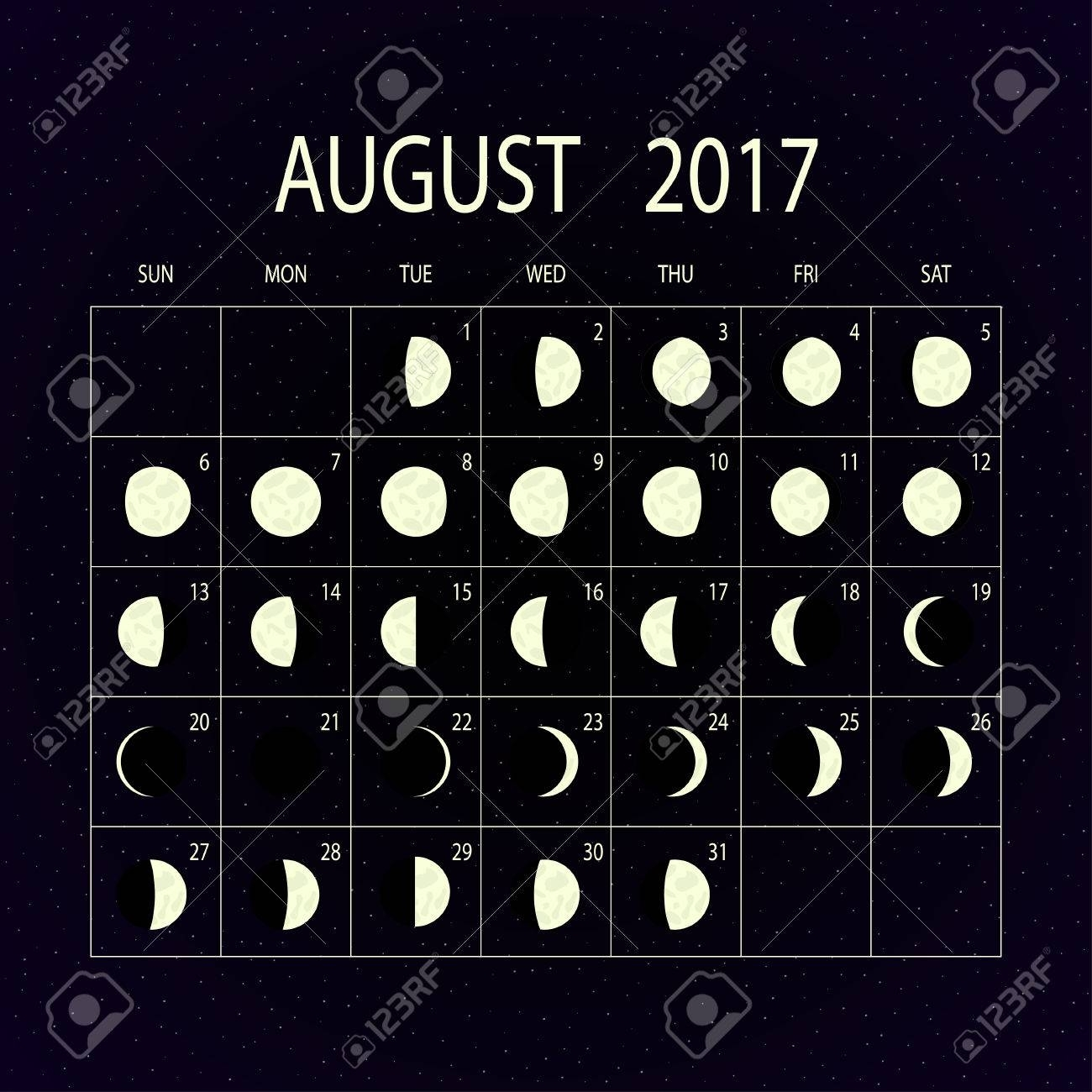 Moon Phases Calendar For 2017 On Night Sky. August. Vector throughout Moon Phases Of August With Time And Date Calendar