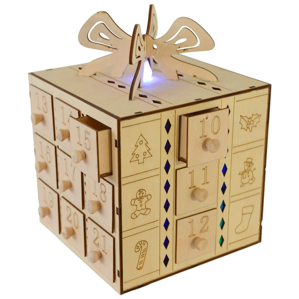 Multi Led Light Up Gift Box Drawers Wooden Advent Calendar inside Wooden Advent Calendar With Lights And Boxes