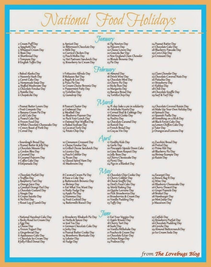 National Food Day Calendar Printable Printable Calendar 2018 throughout Calendar Of National Food Days