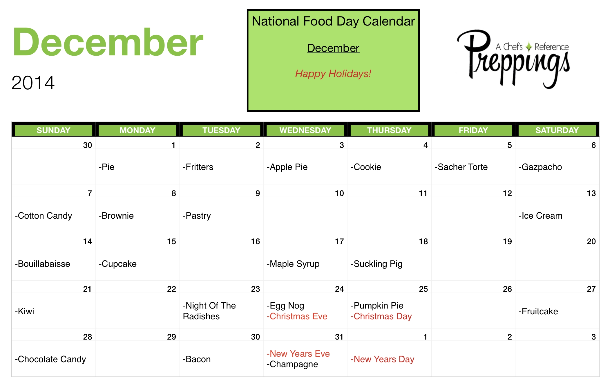 National Food Days- December 2014 - Preppings with Calendar Of National Food Days