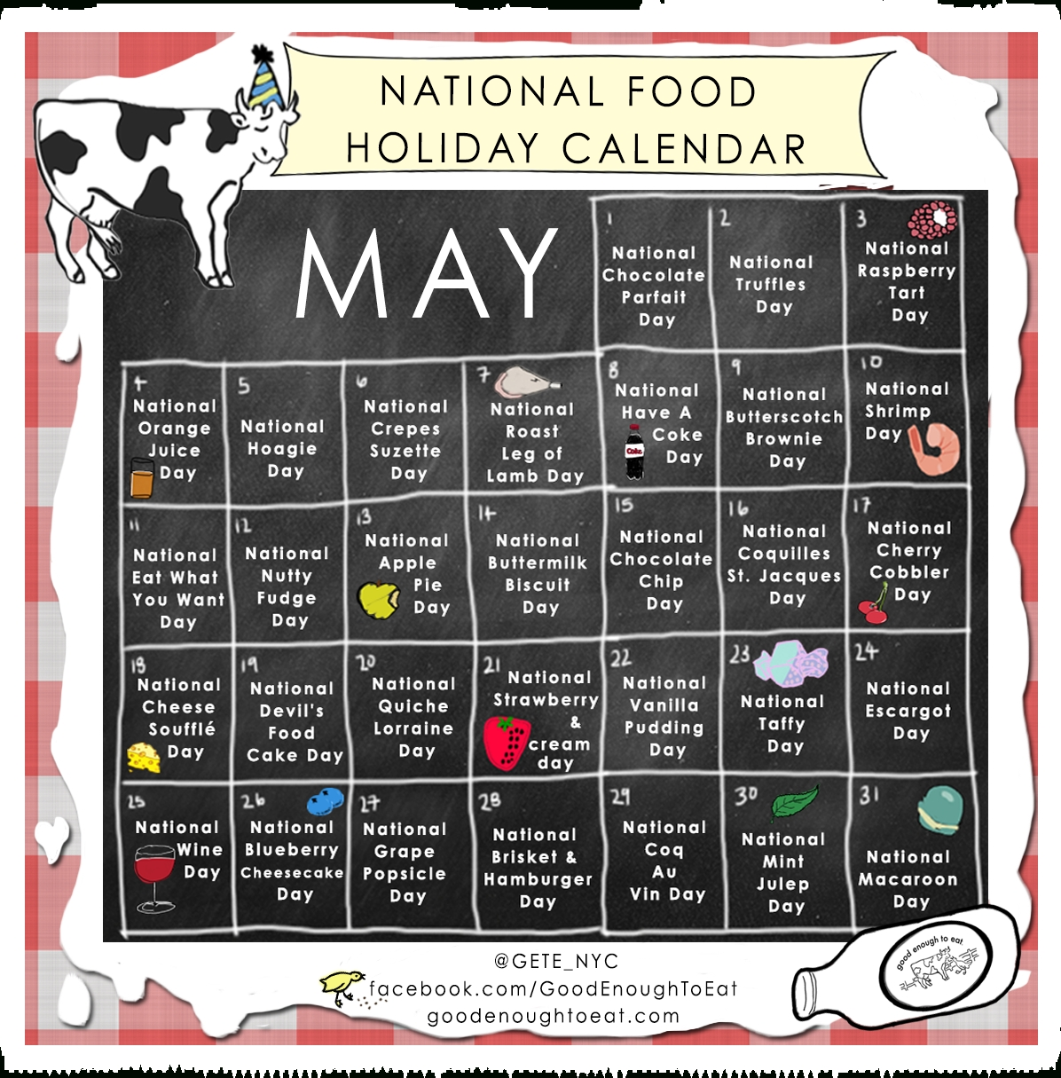 National Food Holiday Calendar - May | Visual.ly intended for Calendar Of National Food Days