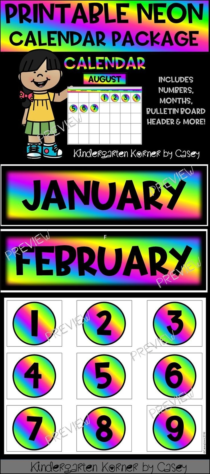 Neon Printable Calendar Set- Months Numbers 1 To 31 Bulletin Board intended for Printable Neon 12 Month Blank Calendar