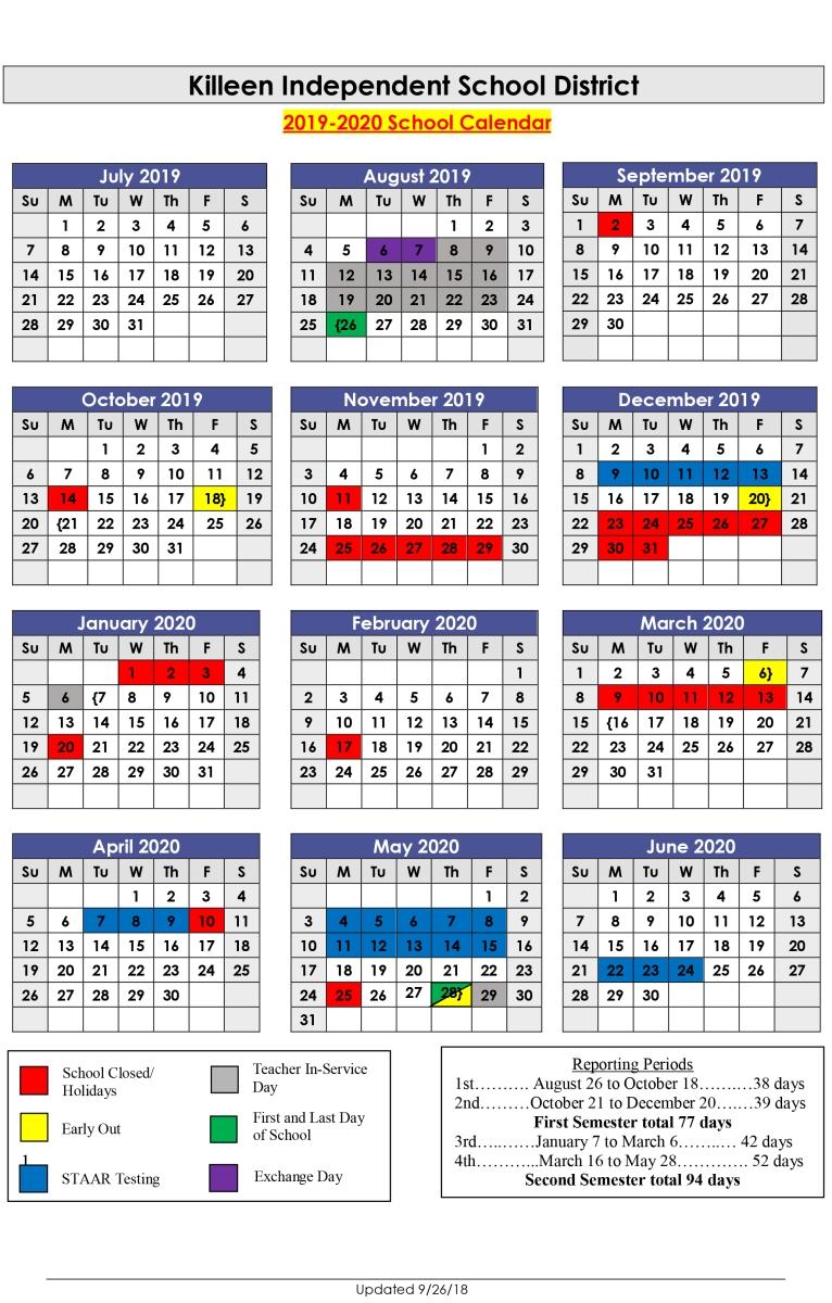 Next School Year Calendar | Killeen Isd for Calendar Week 2020 Kannada