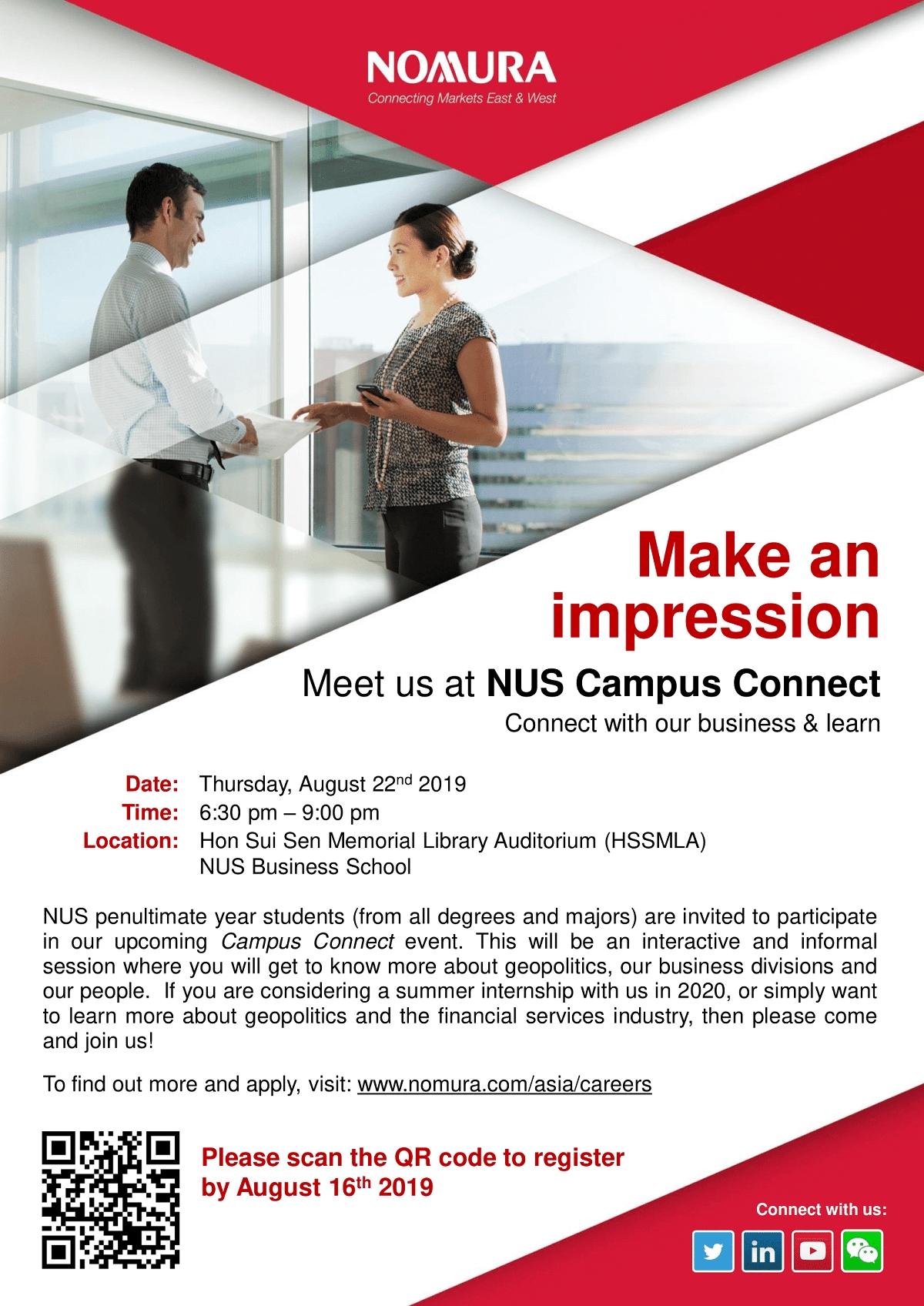 Nomura - Nus Campus Connect | Nus Centre For Future-Ready Graduates in Nus School Term 2019 2020