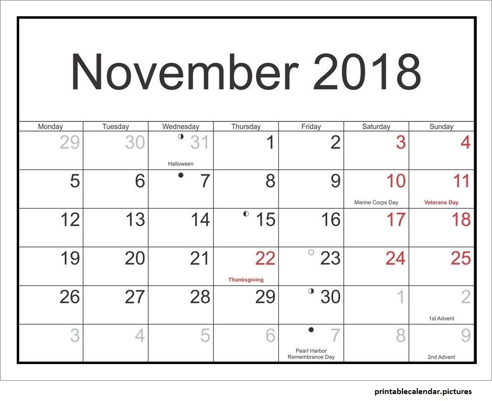 November 2018 Calendar With Holidays | November 2018 Calendar With with regard to Kalnirnay 2020 Holidays