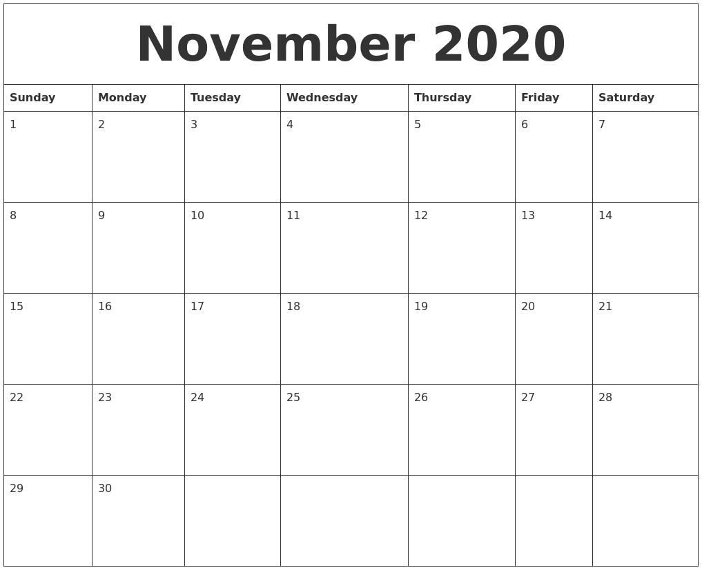November 2020 Word Calendar with regard to 2020 Calendar Sunday Through Saturday