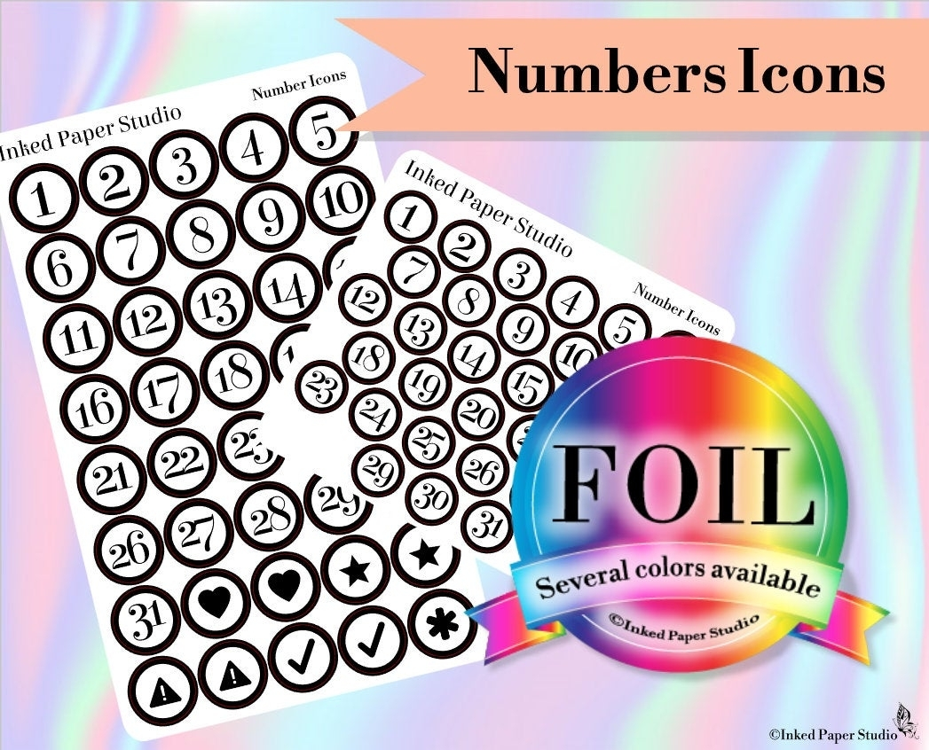 Number Icon Stickers 1 31 Days Of The Month Numbers | Etsy throughout Free Printable Number Labels 1-31