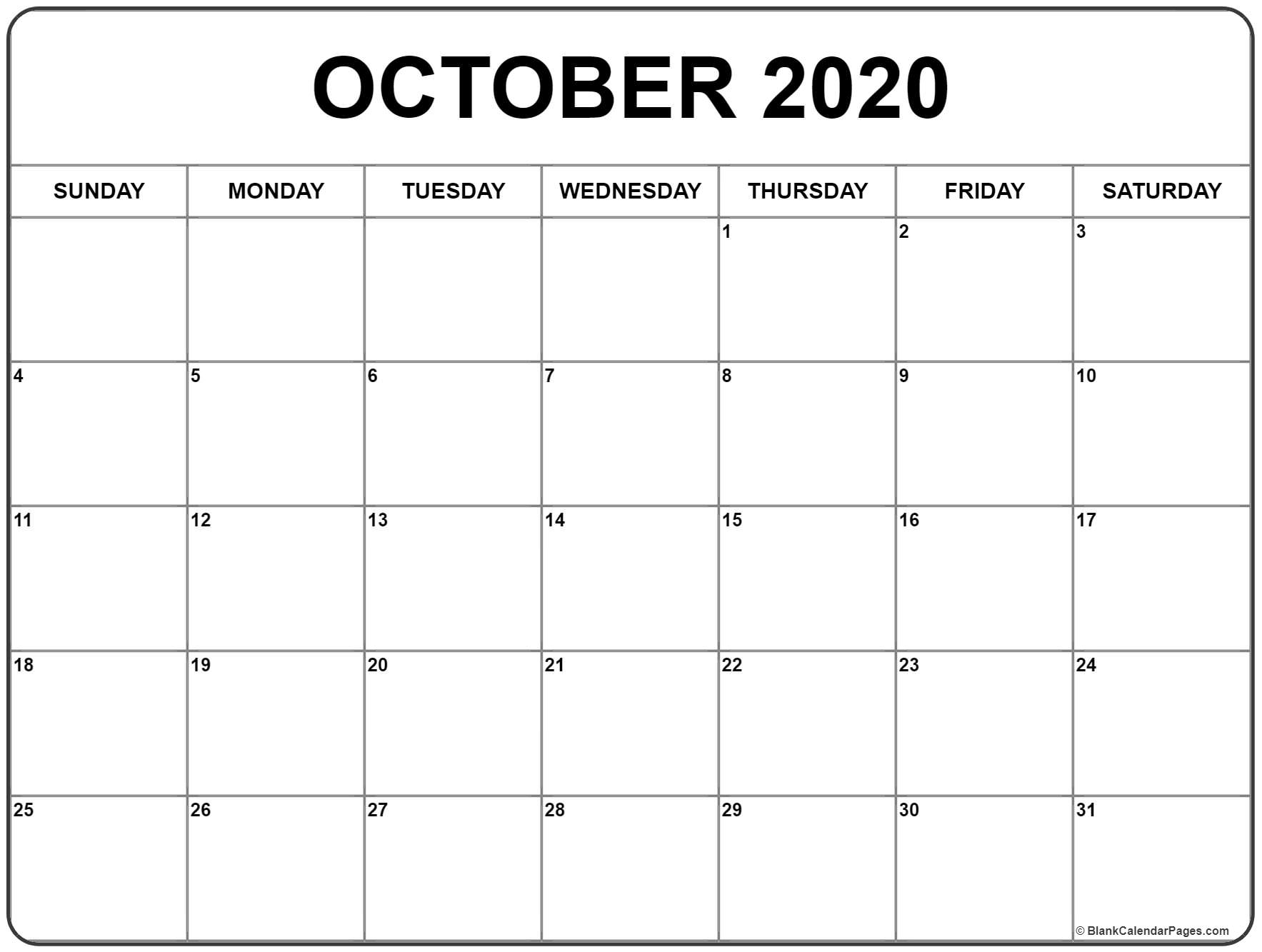 October 2020 Calendar | Free Printable Monthly Calendars in 2020 Free Printable Emploee Calendars