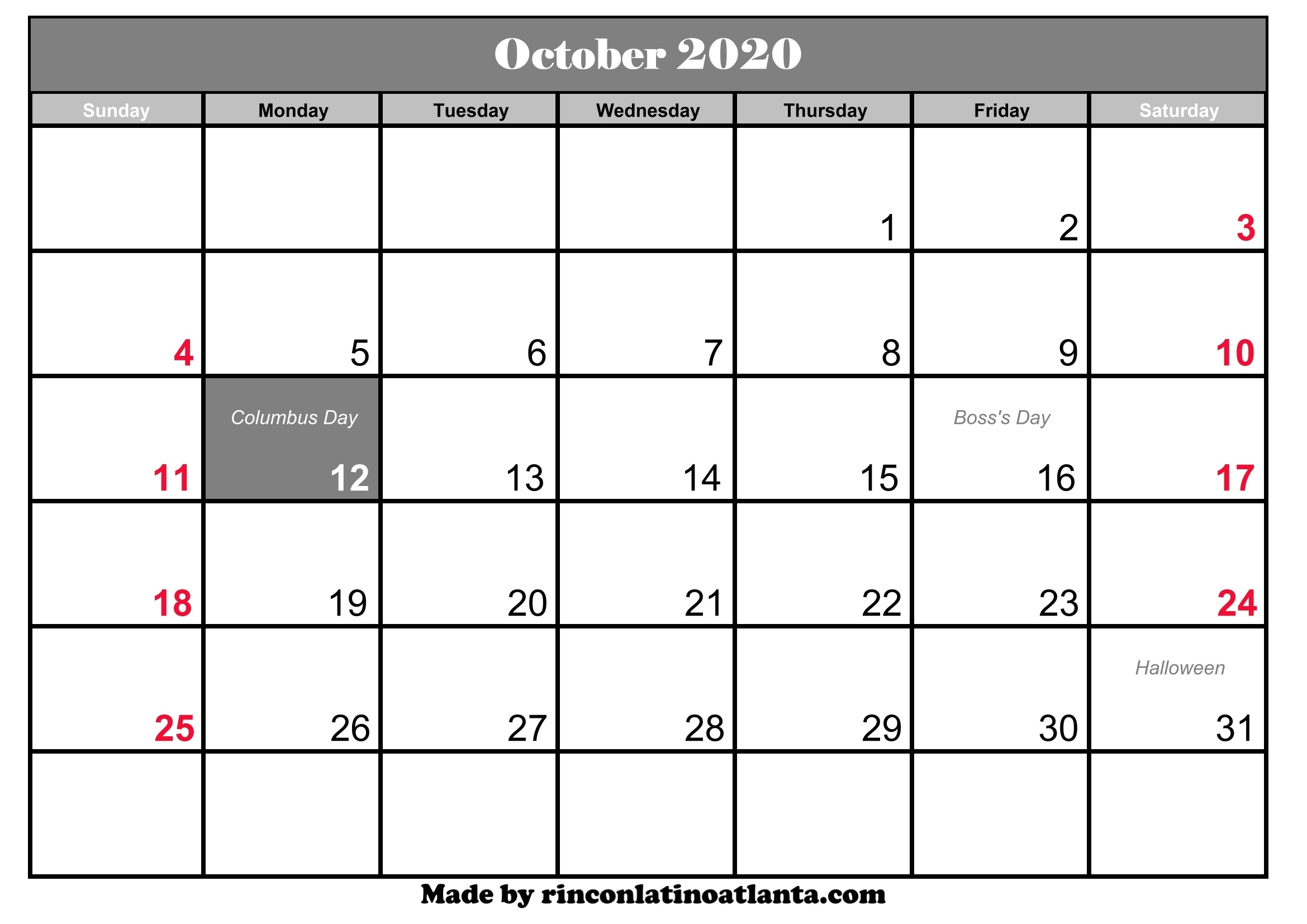 October 2020 Calendar Printable With Holidays | Calendar Template inside Free Printable 2020 Calendar With Space To Write