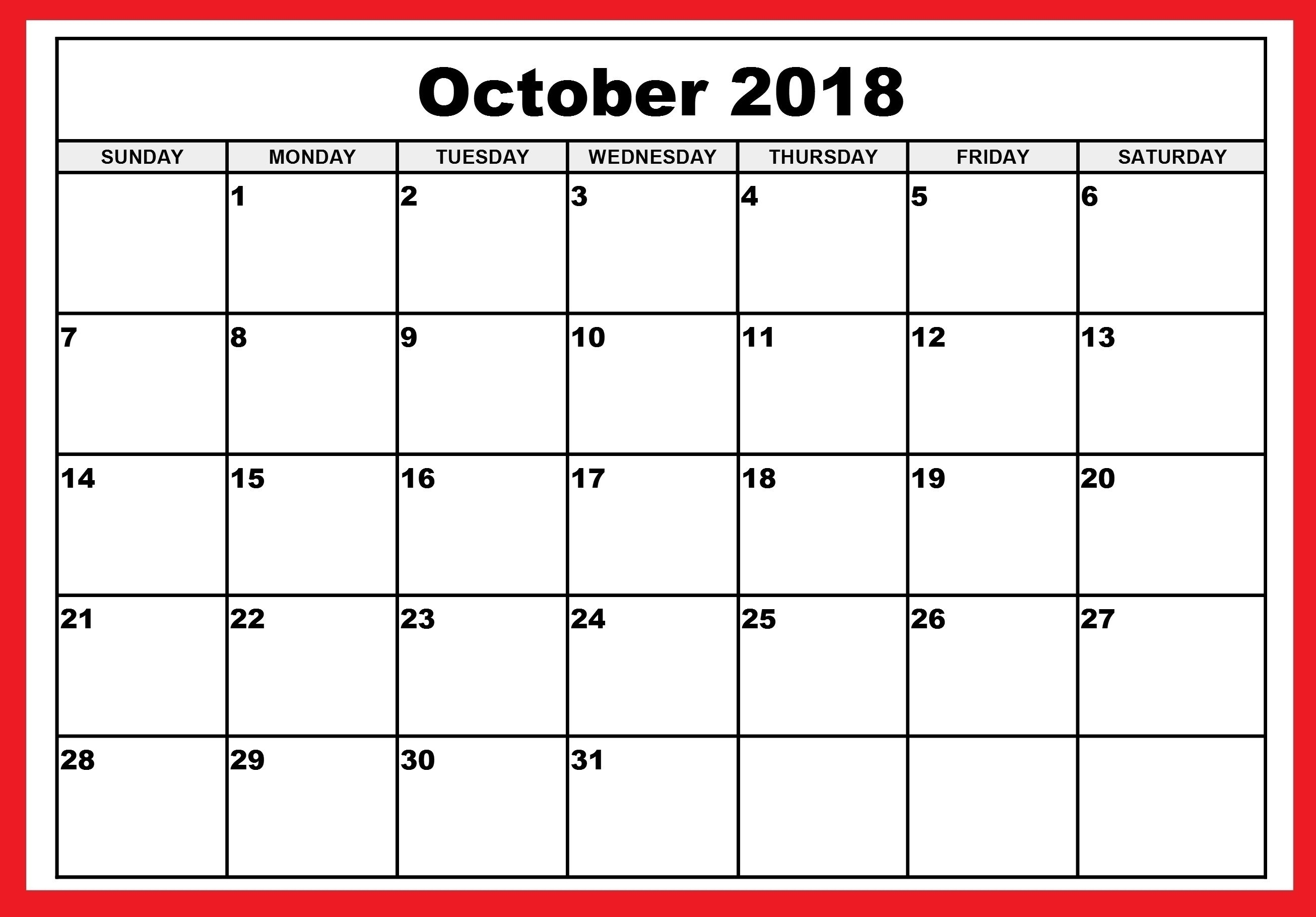 October Blank Calendar Monday To Friday Only | Template Calendar pertaining to Blank Calendar Template Monday To Friday Only