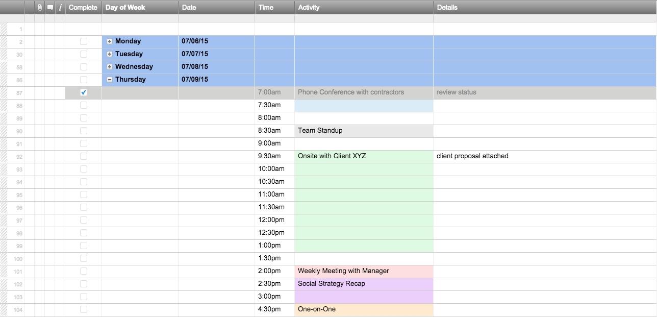 One Week Calendar Template Excel Schedule Exercise | Smorad for One Week Calendar Template Exercise