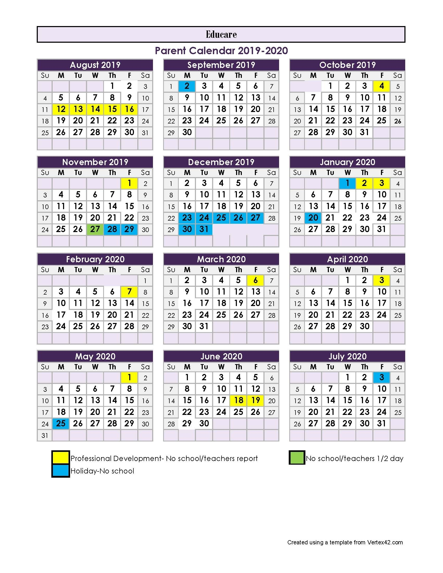Parent Calendar - 2017-2018 with regard to 2019-2020 Calendar Vertex