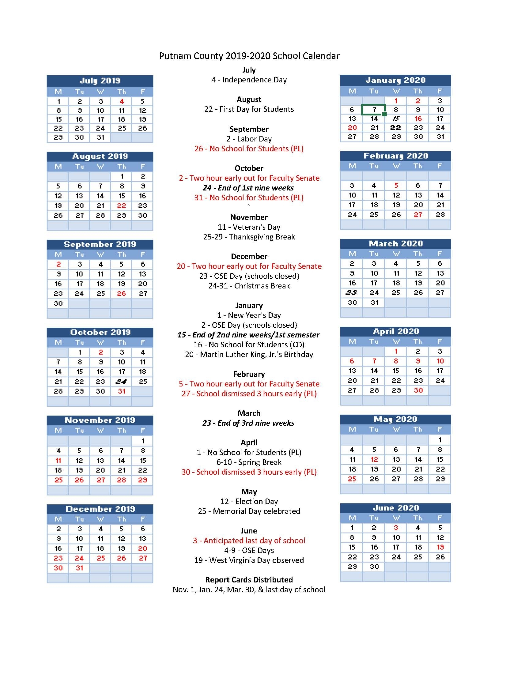 Pcs 2019-2020 School Calendar Highlights - Putnam County Schools throughout Virginia Tech Calendar 2019-2020