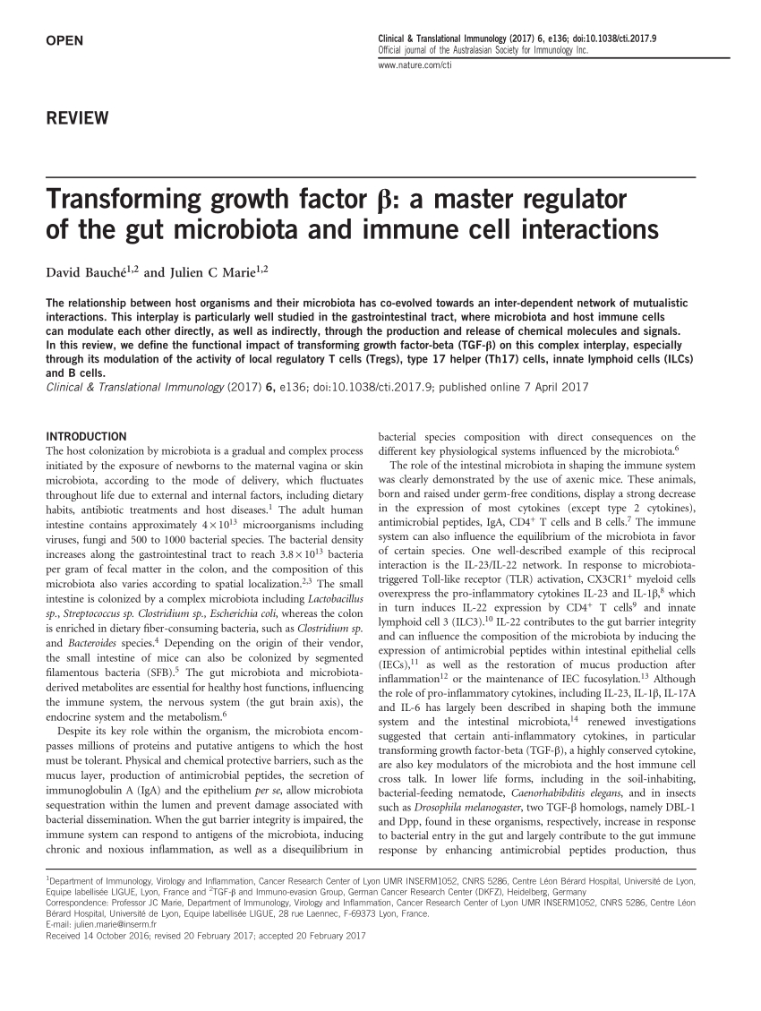 Pdf) Transforming Growth Factor Β: A Master Regulator Of The Gut in Day Of The Year Julian Regulat Year
