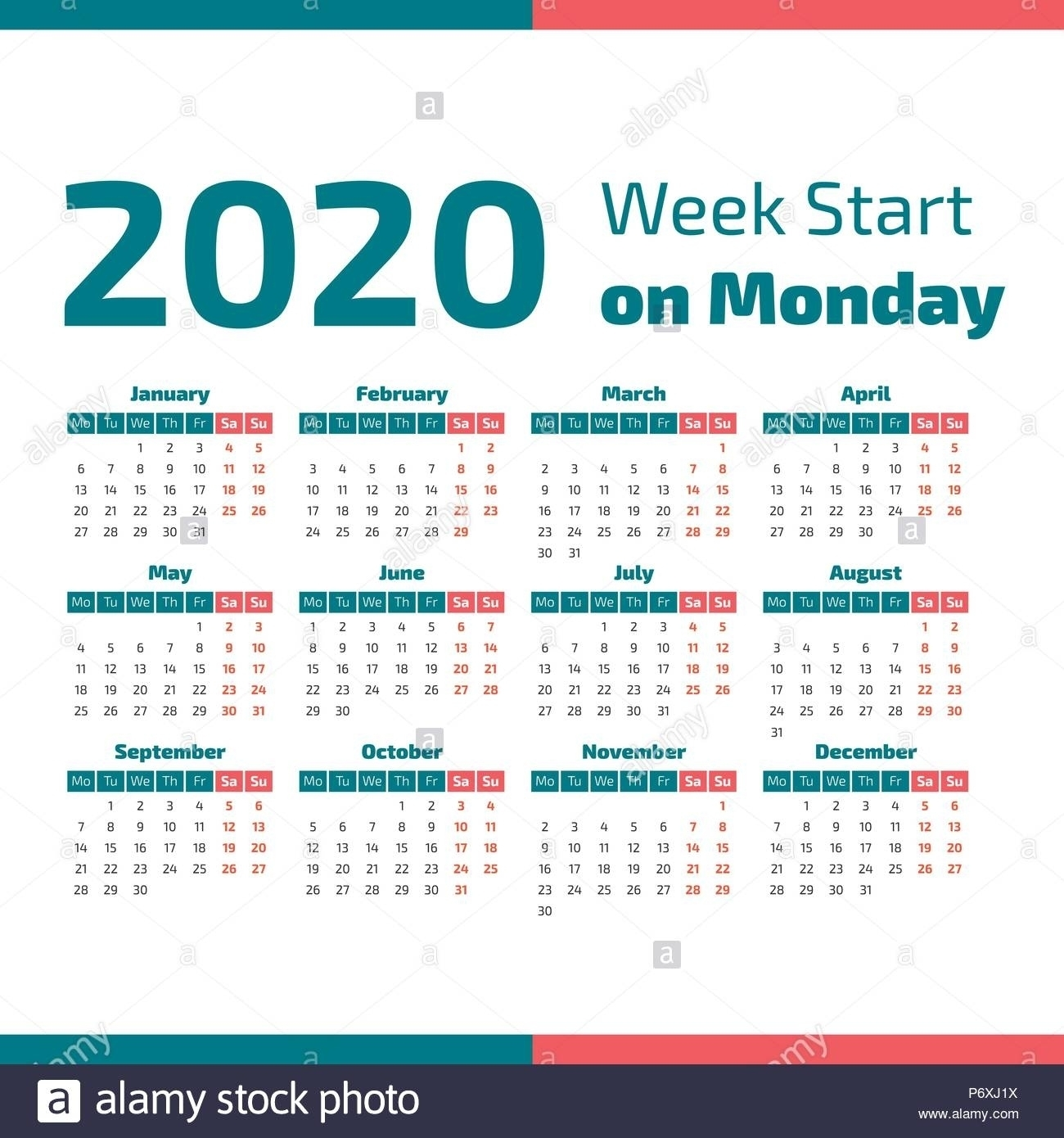 Perky 2020 Calendar Starting On Monday • Printable Blank Calendar within 2020 Calendar Starting With Monday