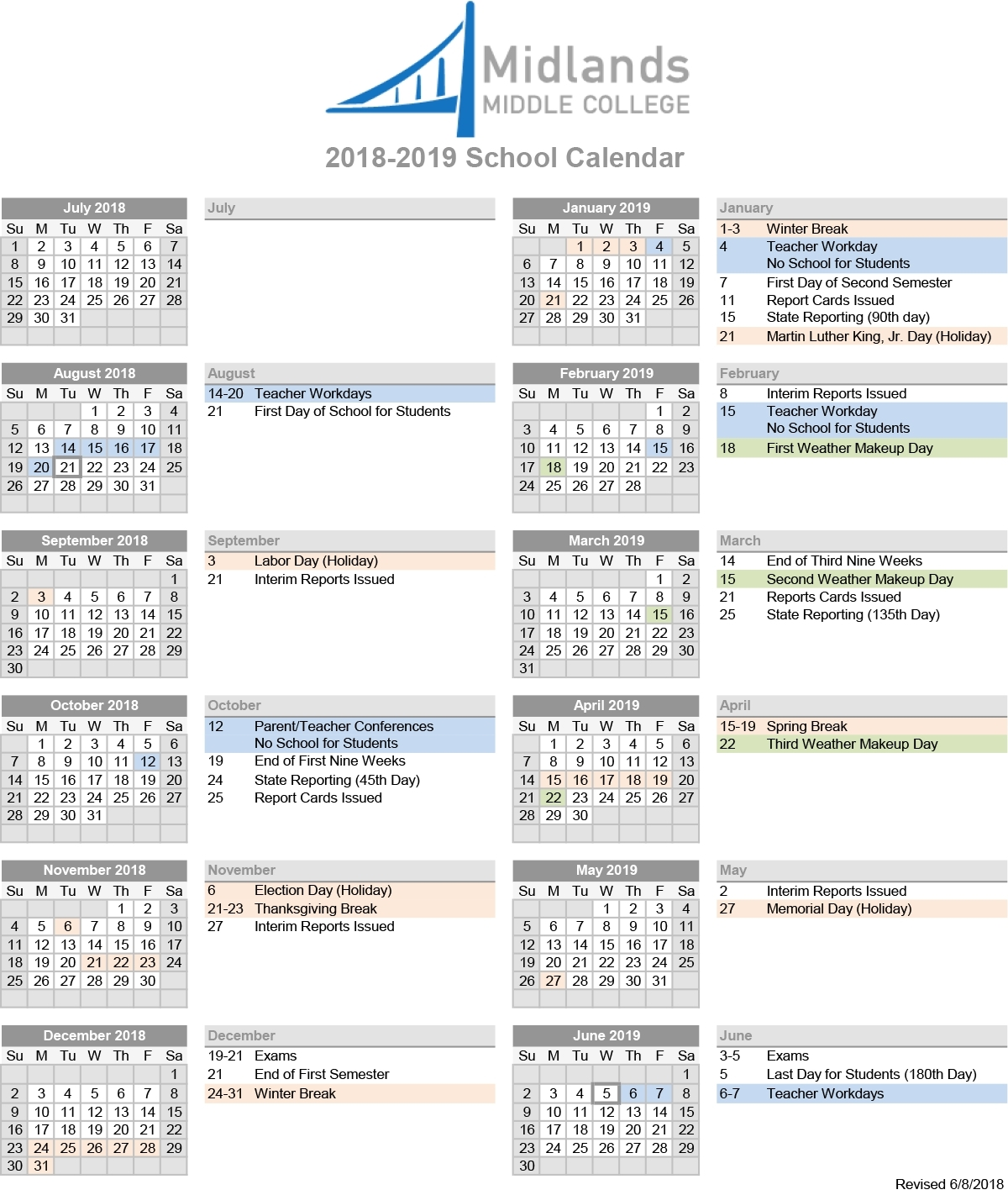 Perky Lexington Richland 5 School Calendar • Printable Blank pertaining to Lex Rich 2019-2020 Calendar