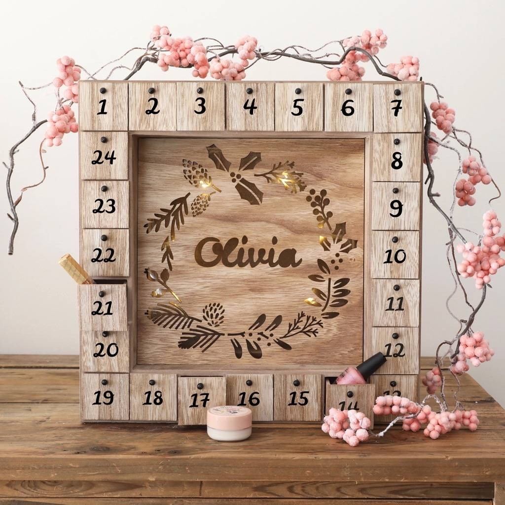 Personalised Wooden Advent Calendar Light Boxlisa Angel in Wooden Advent Calendar With Lights And Boxes