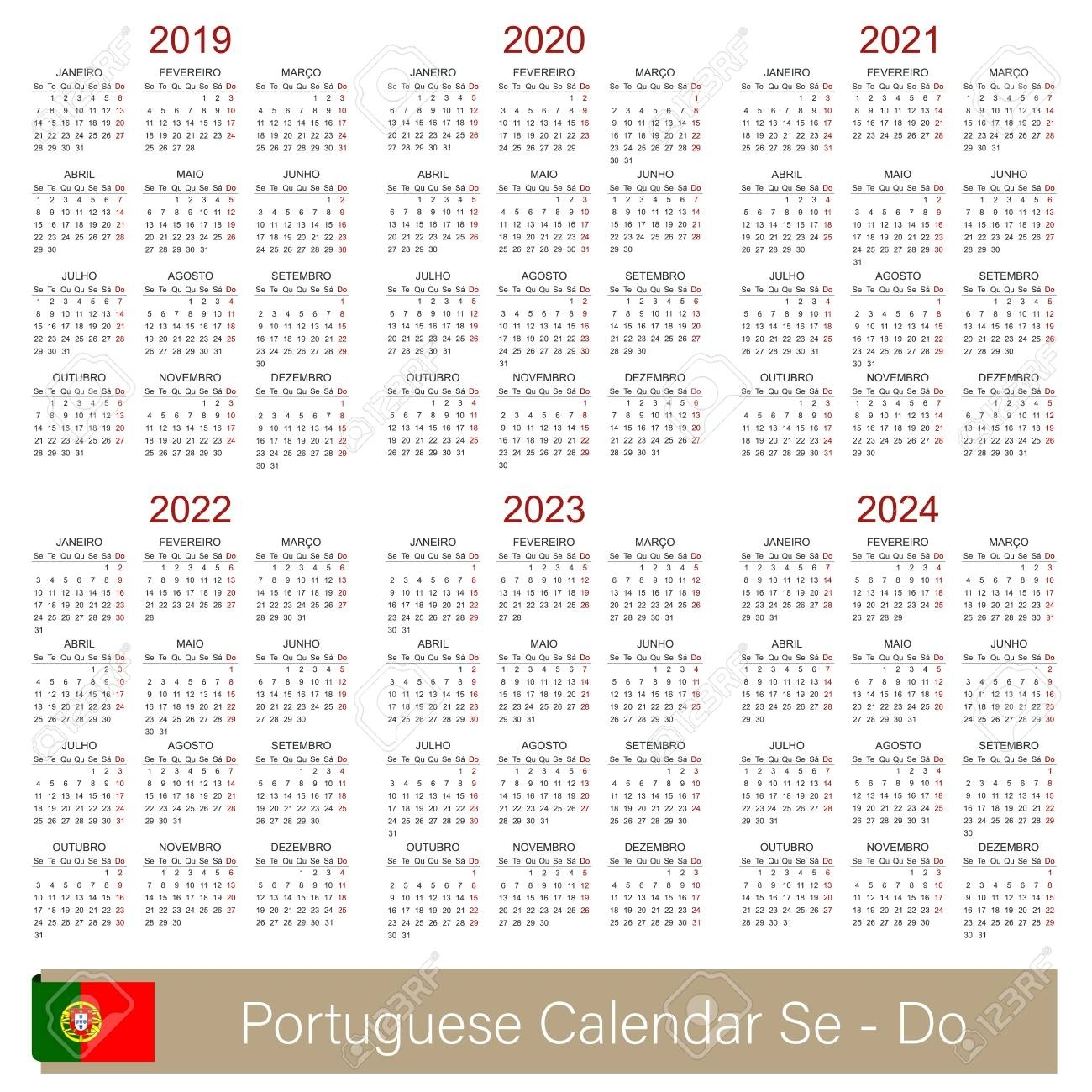 Portuguese Calendar 2019 - 2024, Week Starts On Monday, Simple regarding Free Prinable Calenders 2020 To 2023