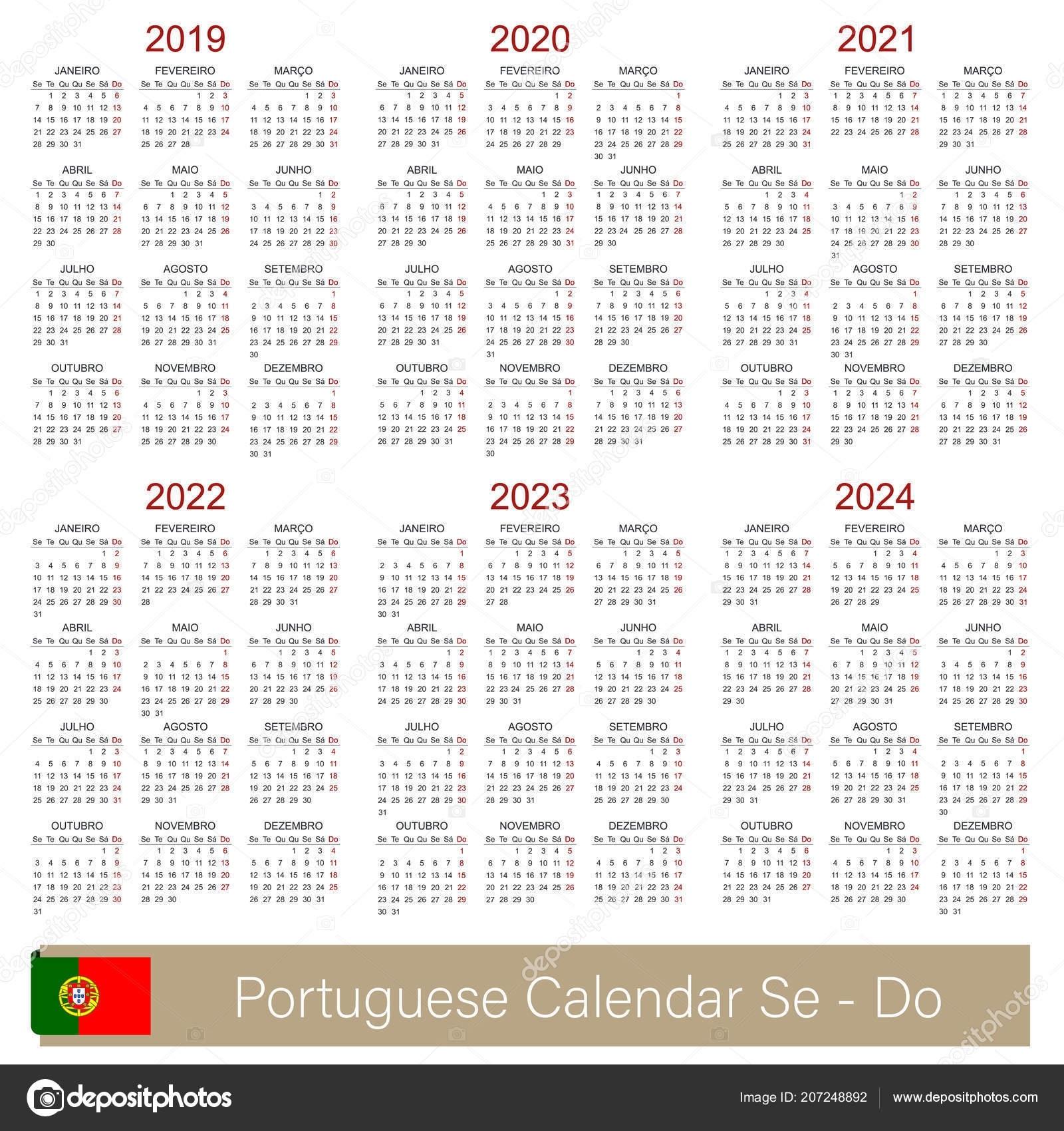 Portuguese Planning Calendar 2019 2024 Week Starts Monday Simple regarding Print 2019, 2020, 2021, 2022, 2023, Calender