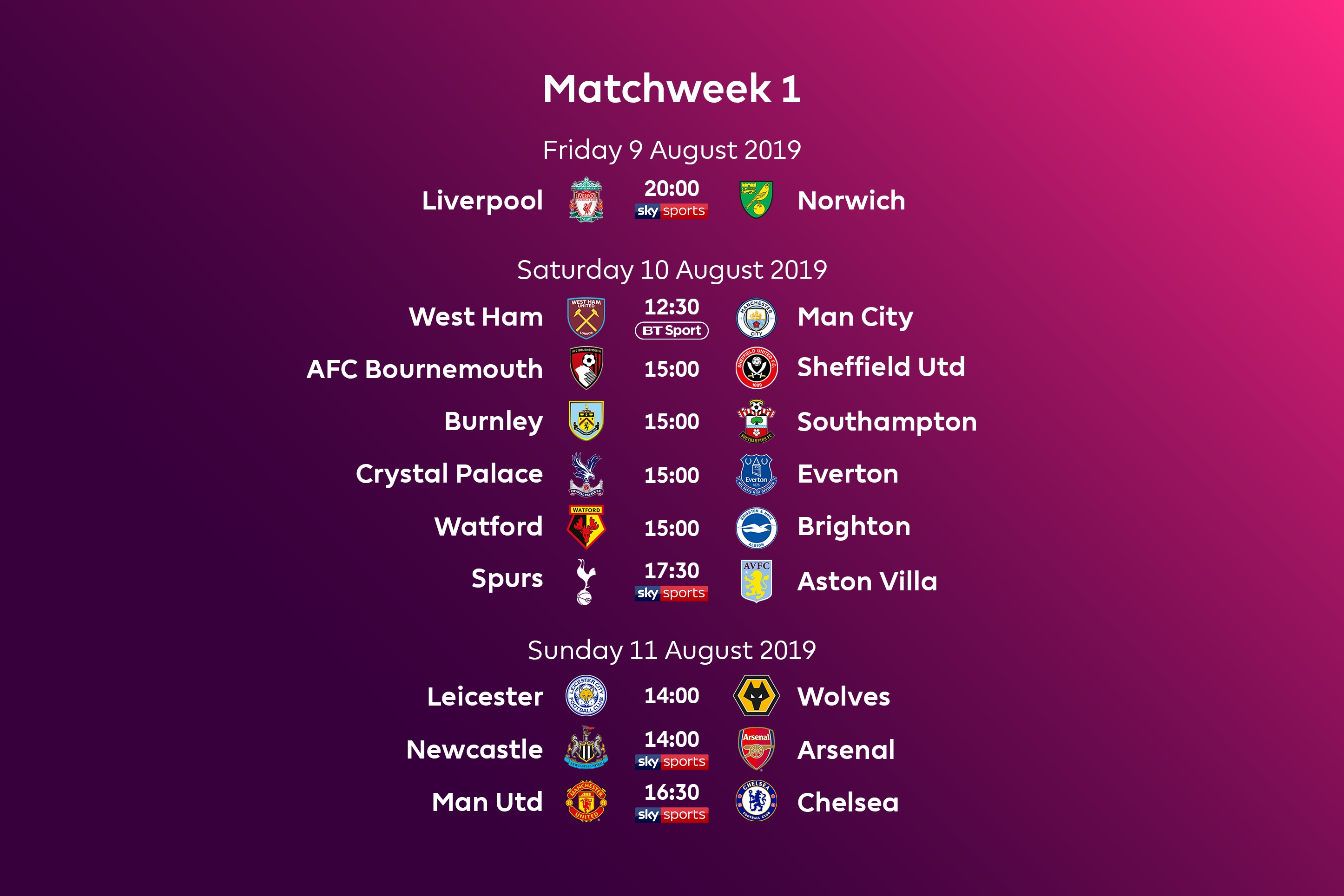 Premier League Fixtures For 2019/20 Announced throughout Premier League 2019-2020 Calendar