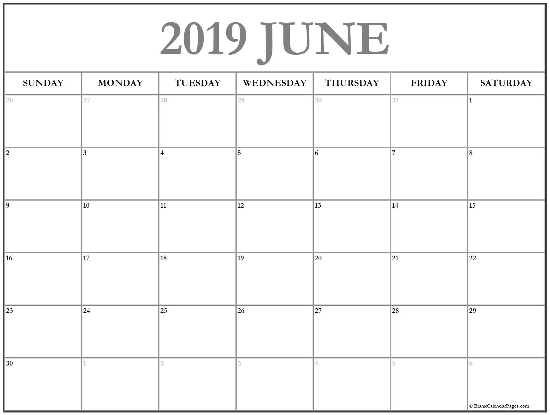 Prime June 2019 Month Blank Calander Monday Thru Friday Only throughout Blank Calendar Template Monday To Friday Only