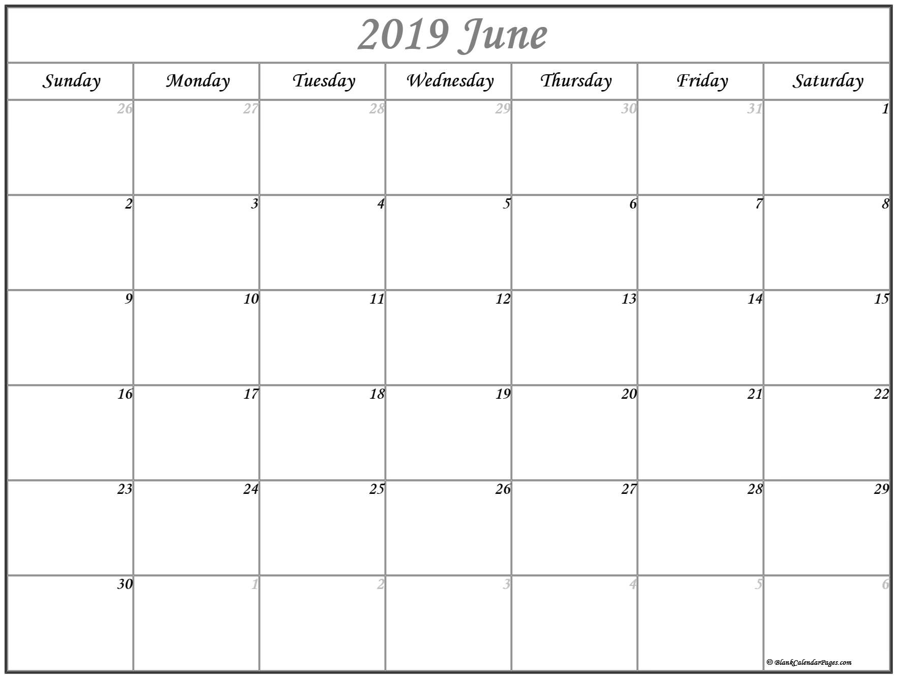 Prime June 2019 Month Blank Calander Monday Thru Friday Only within Blank Calendar Template Monday To Friday Only