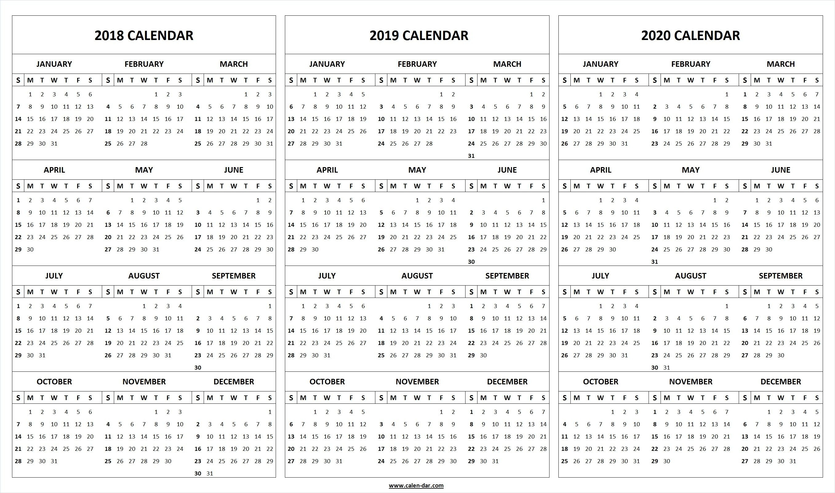 Print Blank 2018 2019 2020 Calendar Template   Organize!   Printable for Year At A Glance Printable Calendar 2019/2020