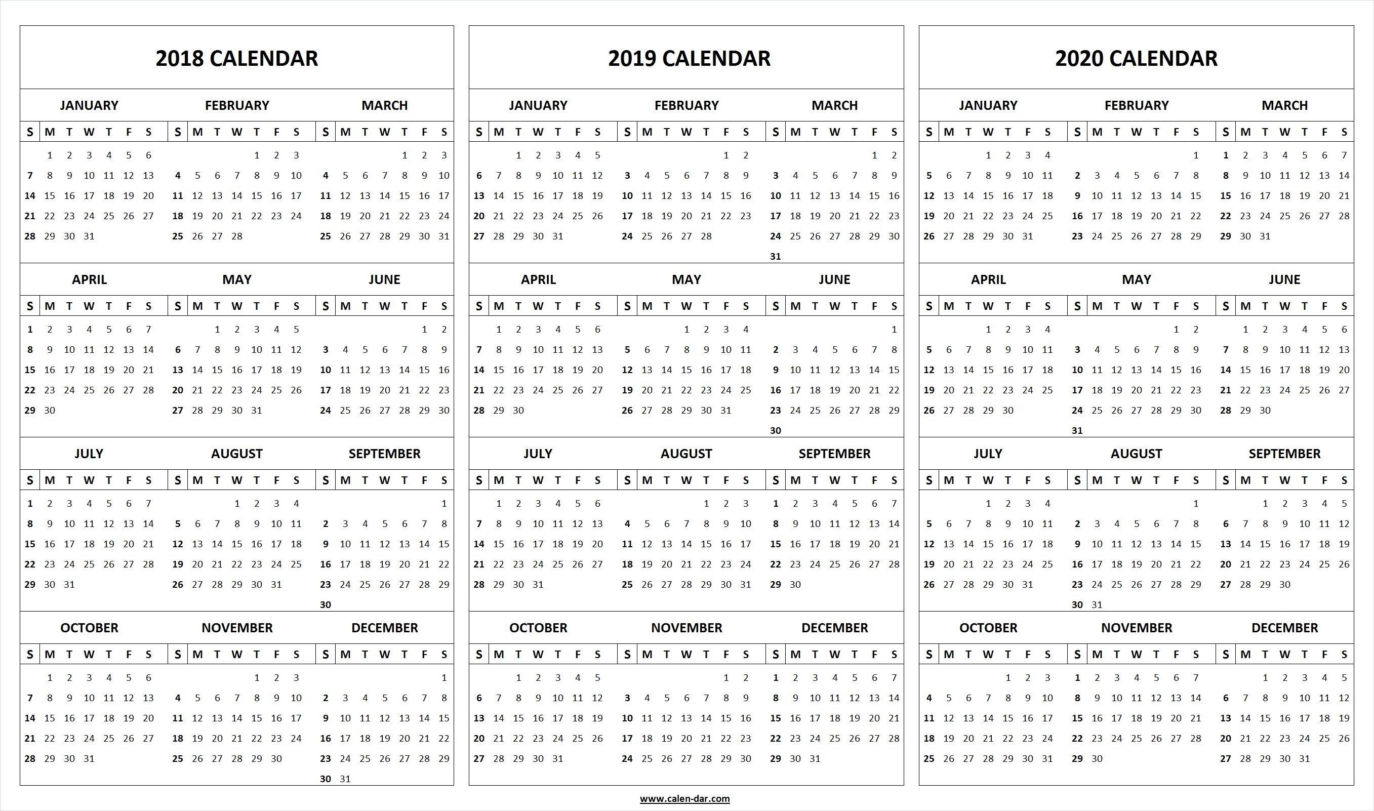 Print Blank 2018 2019 2020 Calendar Template | Organize! | Printable pertaining to Printable Year At A Glance Calendar 2019-2020