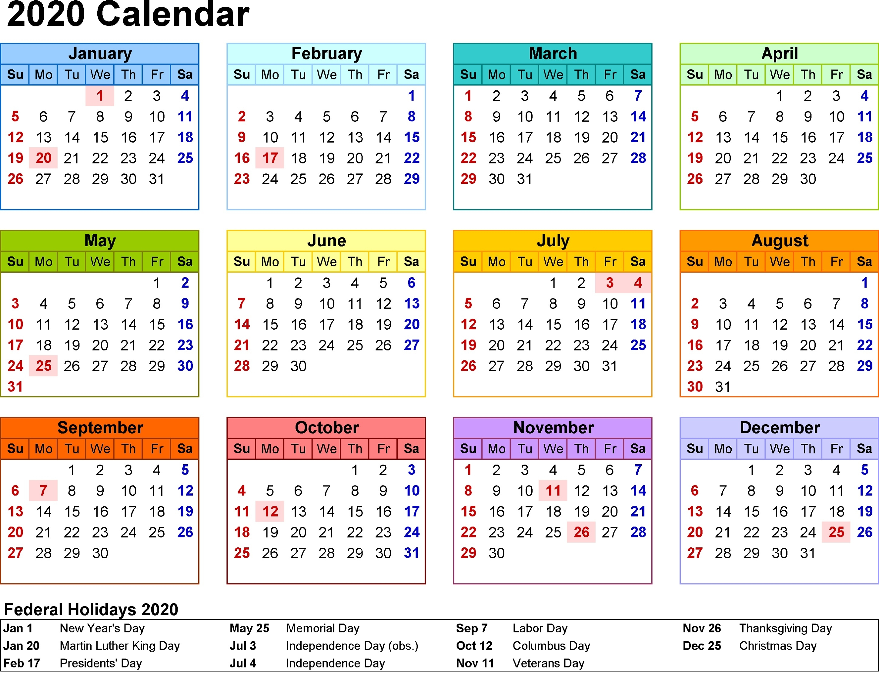Print Blank Calendar 2020 Yearly And Monthly | Calendar Shelter inside Large Print Free Printable Calendar 2020