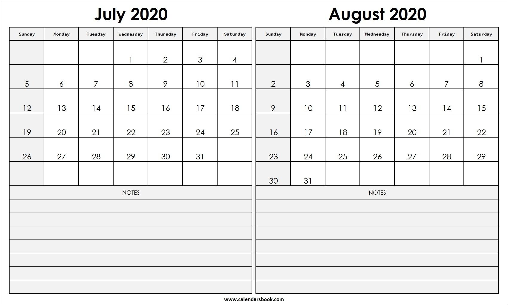 Print July August 2020 Calendar Template   2 Month Calendar for June July August 2020 Calendar
