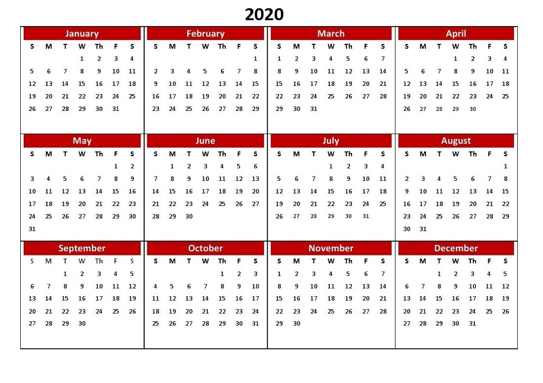 Printable 12 Month Calendar 2020 Various Size   Calendar Shelter for Calendar 365 2020 Printable