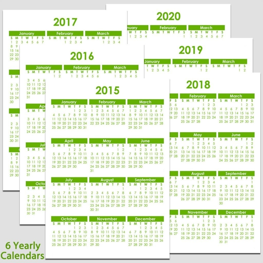 Printable 2015 To 2020 Yearly Calendar – 8 1/2″ X 11″. The Calendars throughout Free Yearly 5.5 X 8.5 Calendar 2020