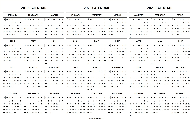 Printable 2019 2020 2021 Calendar Template | 3-Year Editable Calendar inside Printable 3 Year Calendar 2019 2020 2021