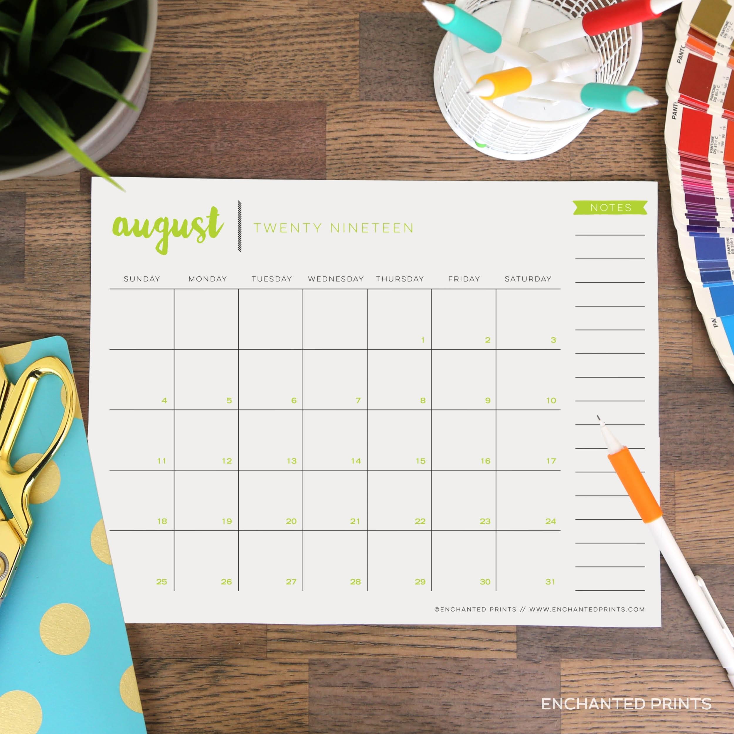 Printable 2019-2020 Academic Calendar 16 Month Calendar | Etsy intended for 2020 Calendar 8.5 X 11